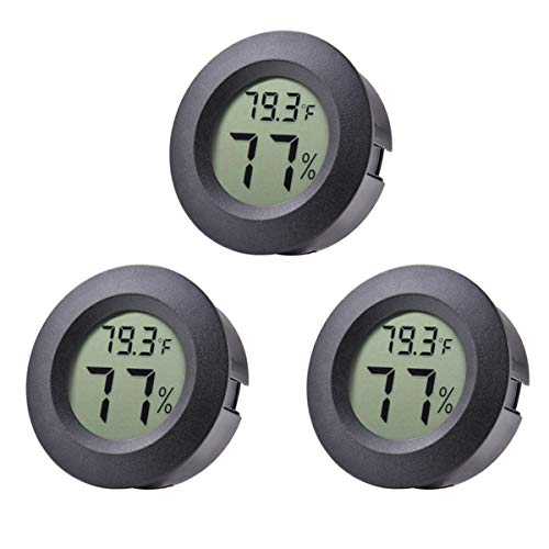 Veanic 3-Pack Mini Hygrometer Thermometer Fahrenheit or Celsius Meter Digital LCD Monitor Indoor Room Round Humidity Temperature Gauge for Humidors Home Greenhouse Babyroom Reptile Incubator ()