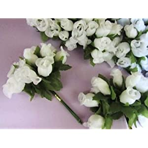 "144 Poly Silk Rose Flower 4"" Stem/leaf/trim/Wedding Bouquet/Artificial H415-White US Seller Ship Fast 56"