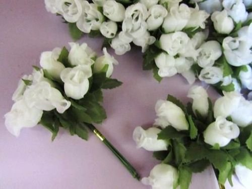 144-Poly-Silk-Rose-Flower-4-StemleaftrimWedding-BouquetArtificial-H415-White-US-Seller-Ship-Fast