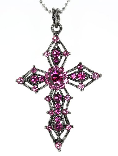 Fuchsia Austrian Crystal Cross Necklace (Austrian Crystal Cross)