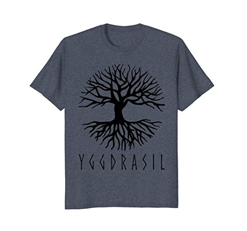 Mens Large Yggdrasil, Tree of Life Pagan and Norse T-Shirt 2XL Heather Blue