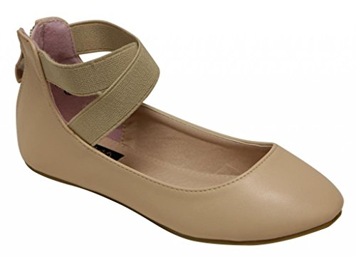 Anna Pam Kids ballerina flat crossed ankle elastic strap suede animal print & PU dance shoes Taupe 12 (Print Suede Flats)
