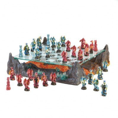 Dawn of Battle Dragon Chess Set Dragon Chess Set Dragon Chess Board Dragon Fantasy Chess Set Dragon Chess Sets For Adults Chess Pieces Dragon Dragon Glass Chess Set by Other