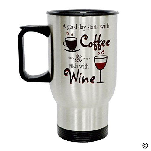 MsMr Travel Mug - Personalized Photo Mug - A Good Day Starts With Cooffee And Ends With Wine Insulated Stainless Steel Travel Mug with Easy-Clean Lid 14 OZ -