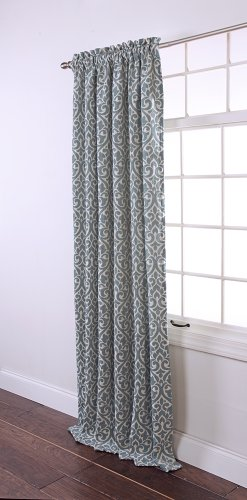 Stylemaster Twill and Birch Bryce Chenille Rod Pocket Window Panel, 55 by 84-Feet, Sea Breeze - 84' Rod Pocket Draperies