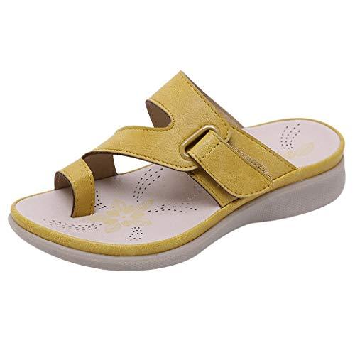 Children Kids Girls Flip-Flop Shoes Bohean Glitter Summer Beach Sandals Open Toe Flat Shoes Slippers Yellow]()