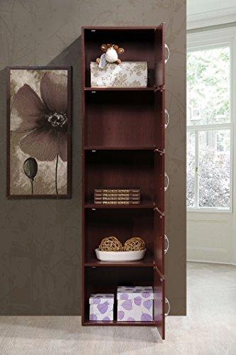 Hodedah 5 Door, Five Shleves, Enclosed Storage Cabinet, Mahogany by HODEDAH IMPORT (Image #4)