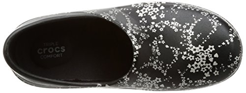 Pour Sabots Pro Neria Metallic Femme Graphic silver Crocs Black EIwqa5