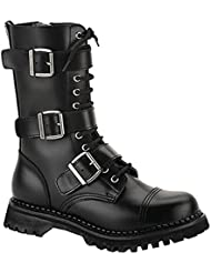 Summitfashions MENS Black Leather Calf Boot 12 Eyelet 3 Strap Gothic Punk Boot Steel Toe