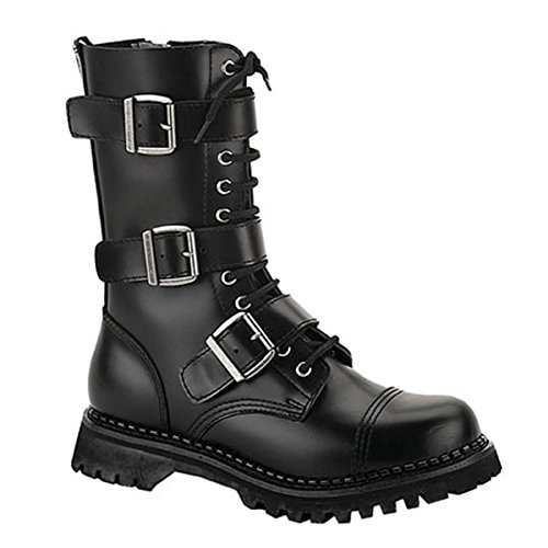 MENS Black Leather Calf Boot 12 Eyelet 3 Strap Gothic Punk Boot Steel Toe Size: (Gothic Punk Shoes)