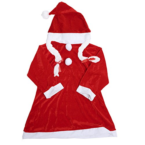 Girls Classic Christmas Santa Claus Dress Clothes Sets Baby Xmas Hat Suits(Toddler/Little Kid)