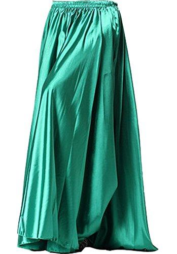 Astage Belly Dance Satin Full Circular Long Skirt, Hot Dance Costume Dark Green (Full House Costumes)