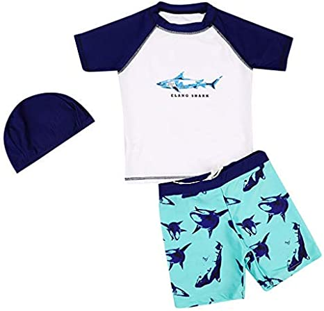 AmzBarley Maui Swimming Costume Boys Kids 3pcs Swimsuit Child Swimwear Summer Holiday Bathing Suit Beach Wear Top Shorts Trunks Clothing Set with Cap