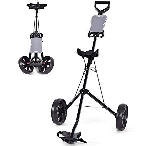 - Tangkula Golf Push Cart Foldable 2 Wheels Push Pull Cart Trolley (Large, Without Cup Holder)