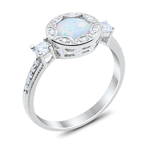 Blue Apple Co. Vintage Antique Style Art Deco Bezel Halo Engagement Ring Round Created White Opal 925 Sterling Silver, Size-6 ()