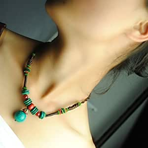 Cyqun(TM) Exotic Retro Style Necklace With Turquoise Pendant,Short Necklace For Women,For Girls