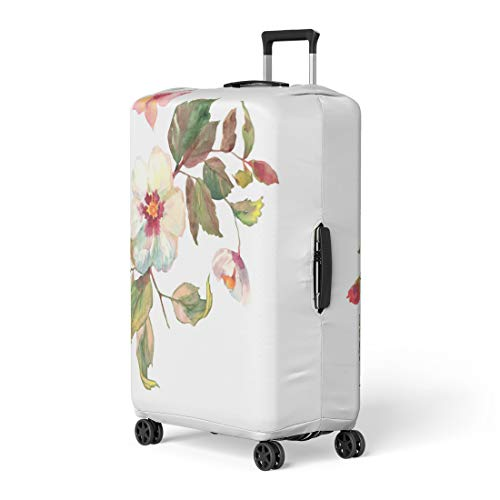 (Pinbeam Luggage Cover Beautiful Bouquet of White Roses Hips Flowers Butterfly Travel Suitcase Cover Protector Baggage Case Fits 26-28 inches)