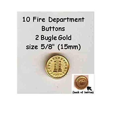 Buttons for Craft Projects - 1 Set of 10 Vintage 5/8'' Gold Metal Brass Shank Fire Department Buttons 2 Bugles - Ideal for Sewing and Quilting, Scrapbooking, Crafts -