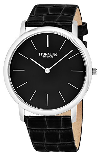 Stuhrling Mens 601 33151 Ascot Swiss Quartz Ultra Thin Black Alligator Embossed Leather Strap Watch