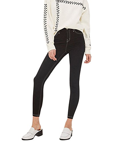 Pantalon En Denim Jeans Taille Haute Stretch Slim Leggings Collant Pour Femme Noir