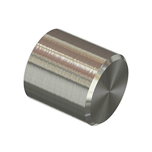 Flairdeco 11011623-0239 Endstücke Kappe für Gardinenstangen 16 mm Durchmesser, Edelstahl-Optik aus Metall , Packungsinhalt 2 Stück