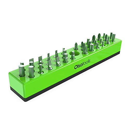 Olsa Tools | Hex Bit Organizer with Magnetic Base | Premium Quality Hex Bit Holder for Your Specialty, Drill or Tamper Bits (Green)