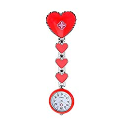 Nurse Pocket Watch for Women Nurse Hanging Watch Heart-Shaped Wall Watch Alloy Nurse Pocket Watch scalable (Color : Red)