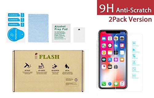 iPhone X, iPhone Xs Glass Screen Protector, iFlash [2 Pack] Crystal Clear Tempered Glass Screen Protector for Apple iPhone X/XS 2017 2018 - Case Friendly/Bubble Free / 3D Touch/HD Clear Version