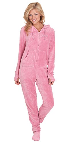 PajamaGram Women's Hoodie-Footie Pink Fleece Onesie Pajamas