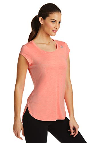 Reebok Women's Legend Performance Top Short Sleeve T-Shirt - Coral Flare Heather, X-Small by Reebok (Image #1)