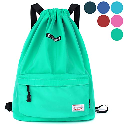 Cinch Nylon (Drawstring Backpack String Bag Sackpack Cinch Water Resistant Nylon for Gym Shopping Sport Yoga by WANDF (Mint Green 6032))