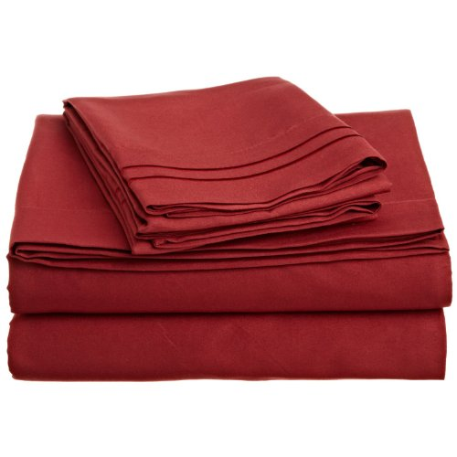 Lamma Loe's Silky Soft Luxurious Supreme Microfiber 4-Piece Sheet Set with Embroidered Pillow Cases, Queen, Burgundy Red