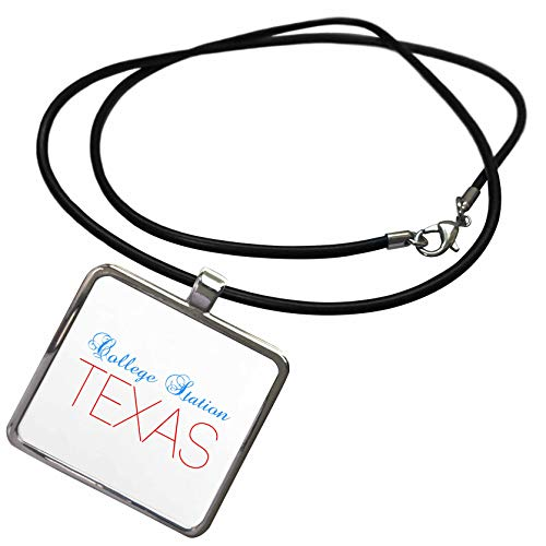 3dRose Alexis Design - American Cities Texas - College Station, Texas, red, Blue Text. Patriotic Home Town Design - Necklace with Rectangle Pendant (ncl_301553_1) -