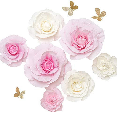 (Ling's moment Paper Flowers Decorations, Set of 7, Handcrafted Large Crepe Paper Rose Peony for Wall Baby Nursery Wedding Backdrop Bridal Shower Centerpiece Monogram Sign(Pink+White))
