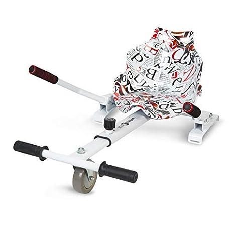 ECOXTREM Hoverkart, Asiento Kart, Multicolor Blanco diseño Letras, con manillares Laterales, Barra Ajustable. Accesorio para patinetes eléctricos ...