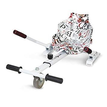 ECOXTREM Hoverkart, Asiento Kart, Blanco diseño Letras, con manillares Laterales, Barra Ajustable
