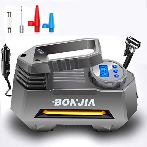 BONJIA Portable Tire Inflator Air Compressor Pump for DC 12V with Extra Nozzle LED Light for Compact/Medium Car (Best Floor Pump With Gauge Suitable)