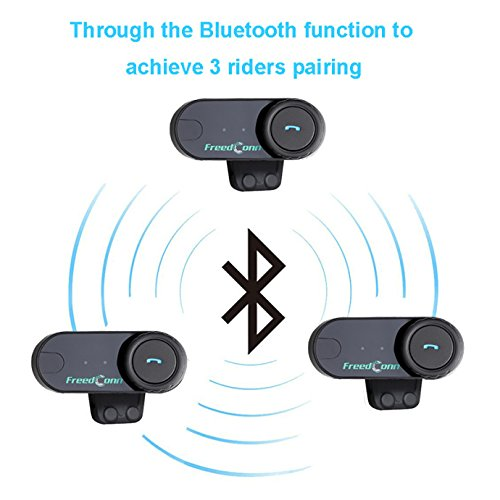 FreedConn T-COMVB Motorcycle Motorbike Helmet Bluetooth Intercom Interphone Headset, for 2 or 3 riders/MP3 player/GPS/FM radio/Hands Free (2Pack) by FreedConn (Image #7)