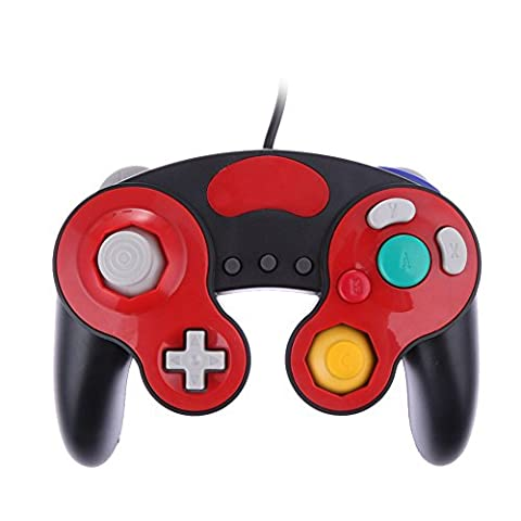 Joystick Wired Shock Game Controller Black+Red Color For Nintendo Gc Gamecube Wii (9 Dj Rack)