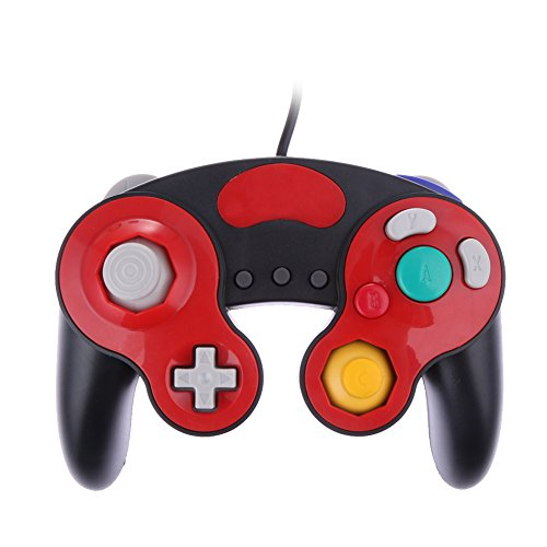 Joystick Wired Shock Game Controller Black+Red Color For Nintendo Gc Gamecube Wii