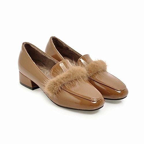 YE Damen Flache Lack Pumps Geschlossen mit Fell Bequem Elegant Kleid Schuhe Braun