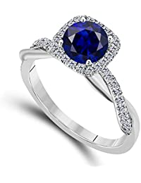2.00 CT Created Blue Sapphire Emerald Cut Celebrity Halo Twisted Shank Bridal Engagement Wedding Ring 14k White Gold Finish Alloy for Women's