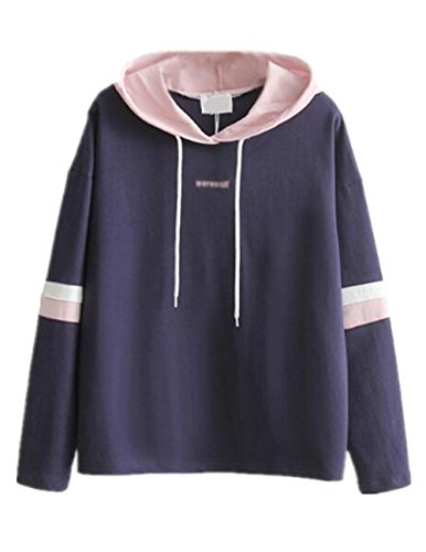 Aivosen Cappuccio Casuale Ricamato Blue Hoodie Elegante Felpe Pullover Con Elastico Sport Donna Sweatshirt Basic 1qTrwt1