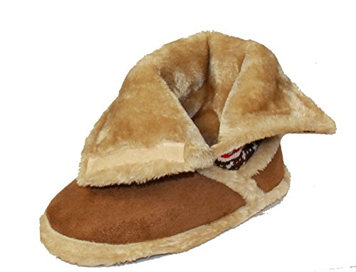 New Ladies Coolers Furry Ankle Slippers Velcro Knitted Winter Bootee UK Size 3-8 Brown 9BFCOD