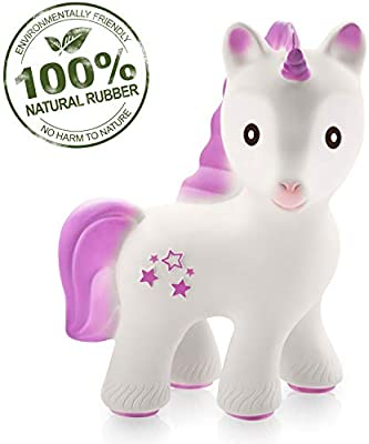 BPA Nalu The Seahorse Without Holes Pure Natural Rubber Baby Bath Toy Phthalates Free PVC Hole Free Bathtub Toy for Babies Textured for Sensory Play Sealed Bath Rubber Toy All Natural