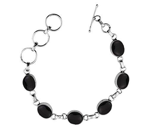 Genuine Onyx Silver Sterling (Genuine Onyx 925 Sterling Silver Overlay Handmade Fashion Bracelet Jewelry)