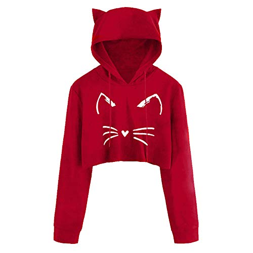 Sunhusing Women Long Sleeve Cat Ear Hooded Pullover Solid Color Short Drawstring Sweatshirt