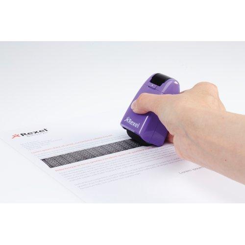 Rexel 2111007 - Protector de datos confidenciales con cubierta retráctil, incluye tinta, color negro