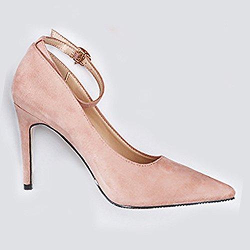 Bout Chaussures Bride Fermé Boucle Talon Pumps Inconnu Femme Rose Escarpin Pointu Mode Respitant Cheville Travail Pdqwq0
