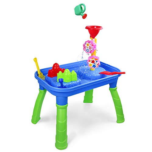 Sand Water Table 2 in 1 Activity Table Sand Box Tray Water Toys for Kids with Molds Shovel Rake Watering Can Summer Beach Outdoor Toys Gift for Toddlers Boys ()